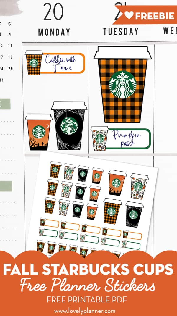 photo relating to Starbucks Printable Application named Totally free Printable Drop Starbucks Cups Planner Stickers - Magnificent