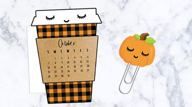 graphic regarding Printable Fall Decorations known as Absolutely free Printable Drop Espresso Cup Calendar Divider Pumpkin