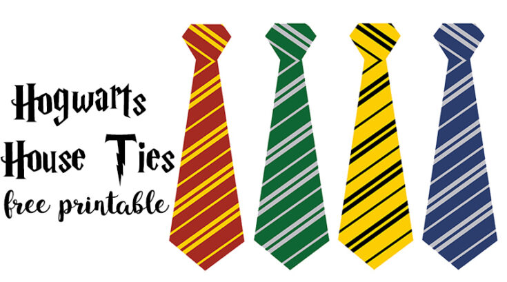 Free Printable Hogwarts House Ties for your Harry Potter Party