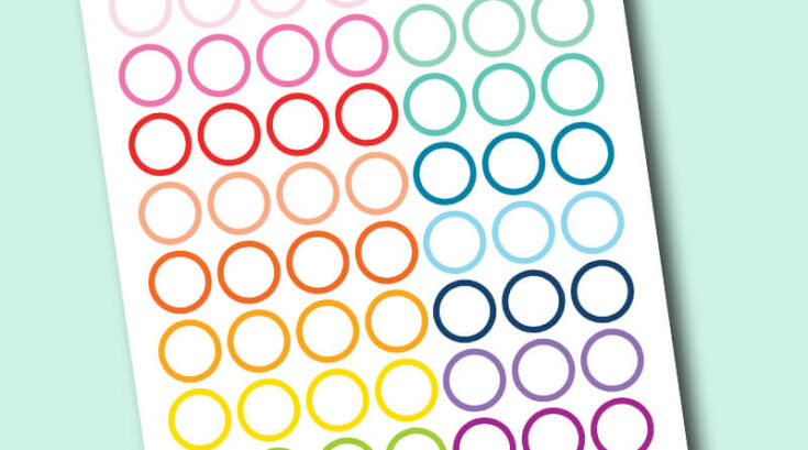 """Free Printable 1"""" circle planner stickers with white space inside - rainbow colors"""