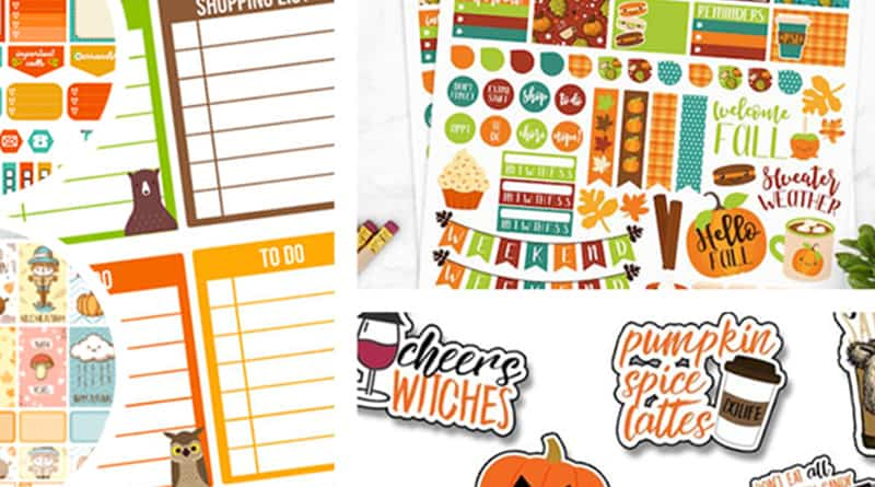 12 Free Printable Fall Planner Stickers Sets