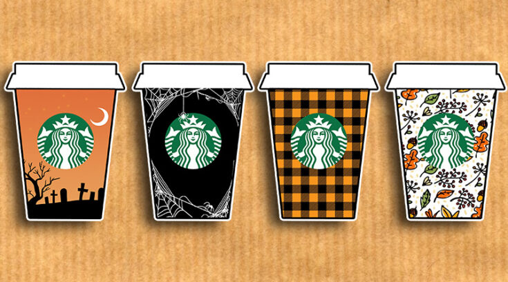 Fall Starbucks Cups Planner Stickers