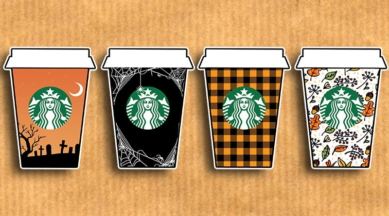 image relating to Starbucks Printable Application called Cost-free Printable Tumble Starbucks Cups Planner Stickers - Magnificent
