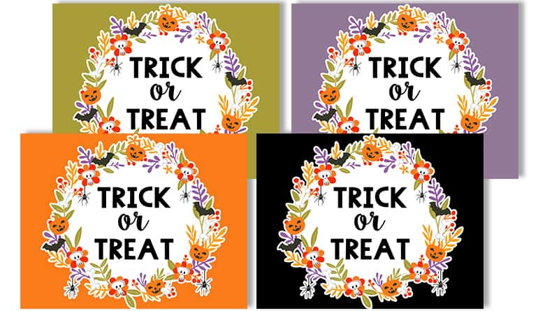 photo about Halloween Signs Printable identify Totally free Printable Halloween Trick or Deal with Signs or symptoms - Attractive Planner