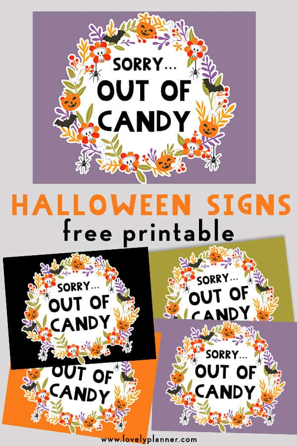 image regarding Free Printable Signs referred to as No cost Printable Halloween Out of Sweet Symptoms - Gorgeous Planner