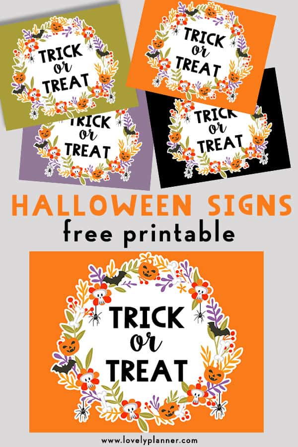 Free Printable Halloween Trick or Treat Signs