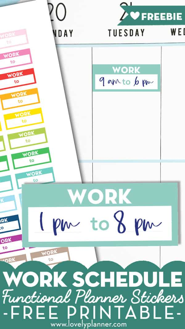 photograph about Printable Stickers Free identified as No cost Printable Operate Timetable Planner Stickers - Rainbow