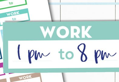 Free Printable Work Schedule Planner Stickers - perfect for happy planner, erin condren, etc. Many matching rainbow functional stickers available. #freeprintable #Planner #stickers #Plannerstickers #lovelyplanner