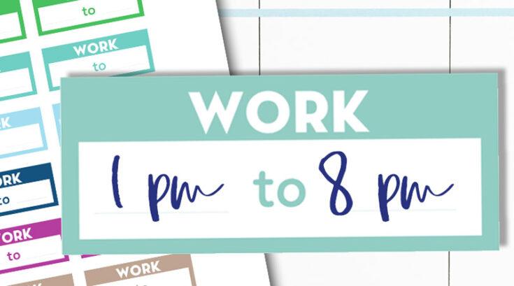 Free Printable Work Schedule Planner Stickers - Rainbow