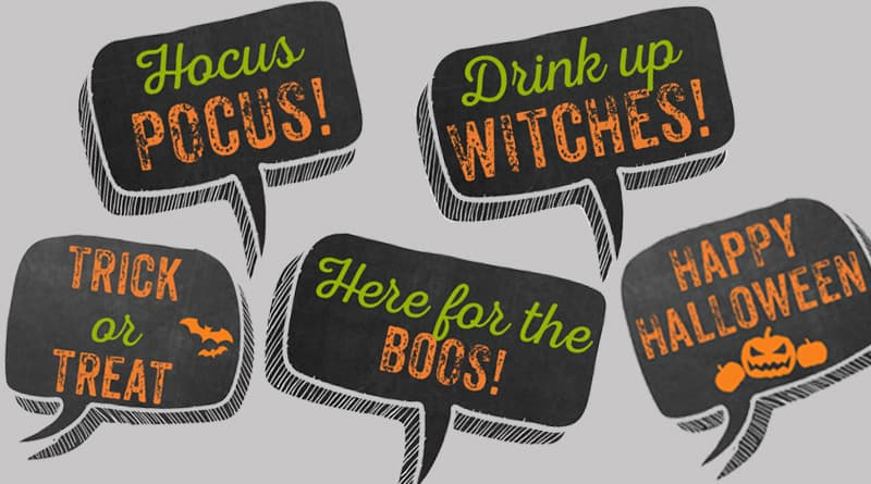 Free Printable Halloween Photo Booth Props with 11 funny speech bubbles to make your Halloween party unforgettable for all your guests. #halloween #photobooth #party #halloweenparty #freeprintable #lovelyplanner