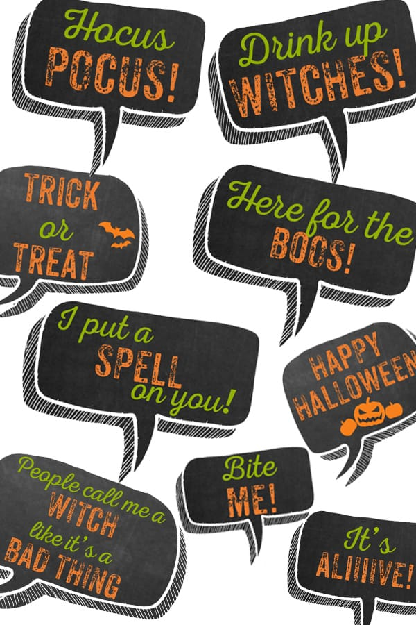 free halloween photo booth props with 10+ funny speech ...