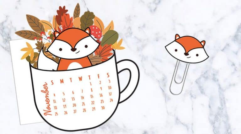 photo about Fox Printable named Cost-free Printable Tumble Floral Espresso Cup Calendar Divider Fox