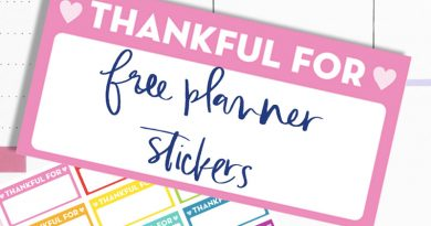 "Free Printable Gratitude Planner Stickers: ""Thankful for"" & ""Grateful for"" stickers"