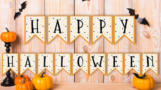 "Free Printable Halloween Banner: ""Happy Halloween"" + blank banner pennants in case you'd like to customize it with your own text. #halloween #banner #homedecor #freeprintable #lovelyplanner"