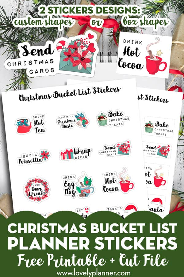 15 Free printable Christmas bucket list planner stickers to decorate your planners, bullet journals and travel notebooks during Christmas season. #freeprintable #christmas #christmasbucketlist #bucketlist #planner #plannerstickers #lovelyplanner