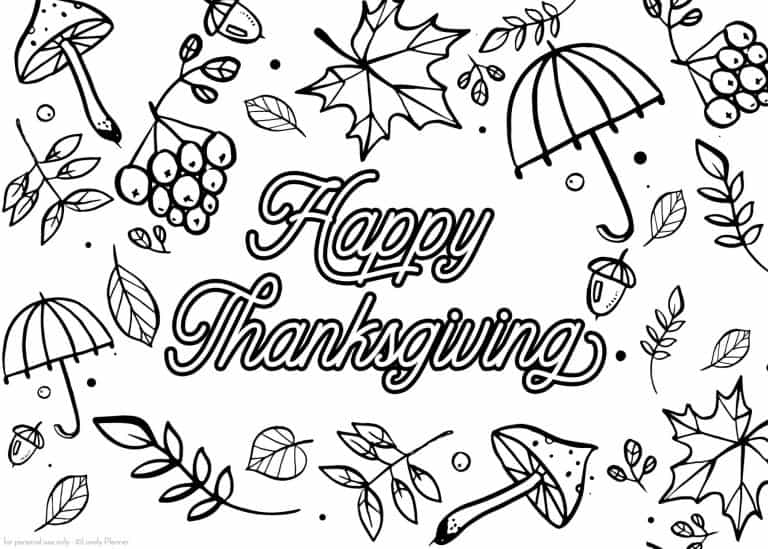 Free Printable Thanksgiving Coloring Page In 3 Sizes - Lovely Planner
