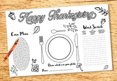 """Free printable Thanksgiving kid placemat - activity sheet with word search, corn maze, drawing and coloring. 2 sizes: US letter and placemat (11x17""""). #freeprintable #thanksgiving #placemat #activitysheet #kid #lovelyplanner"""