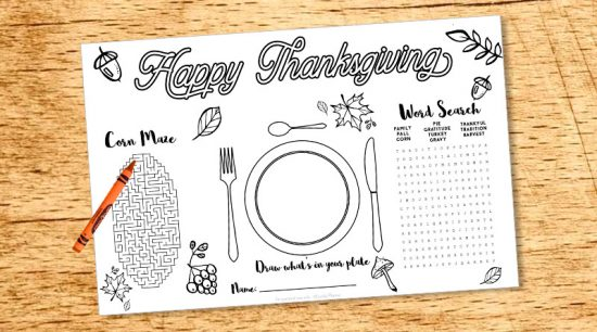 "Free printable Thanksgiving kid placemat - activity sheet with word search, corn maze, drawing and coloring. 2 sizes: US letter and placemat (11x17""). #freeprintable #thanksgiving #placemat #activitysheet #kid #lovelyplanner"