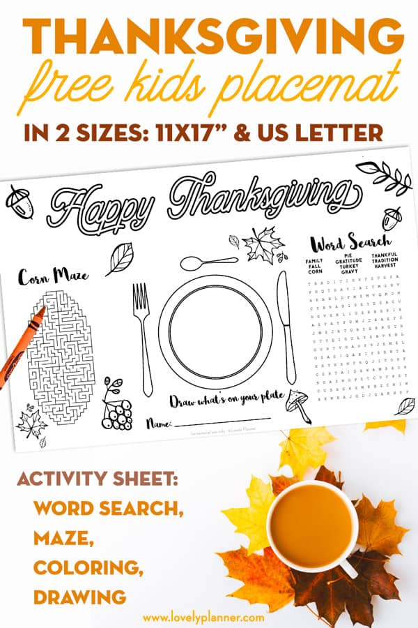 graphic relating to Free Printable Thanksgiving Placemats titled cost-free printable thanksgiving boy or girl placemat game sheet