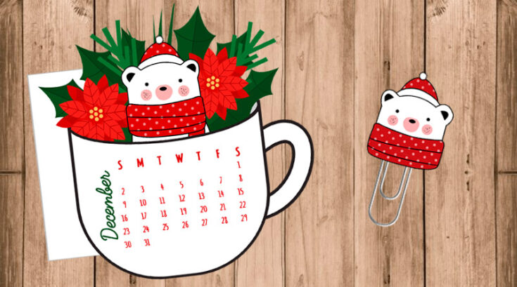Christmas Floral Coffee Cup & Bear Planner Divider