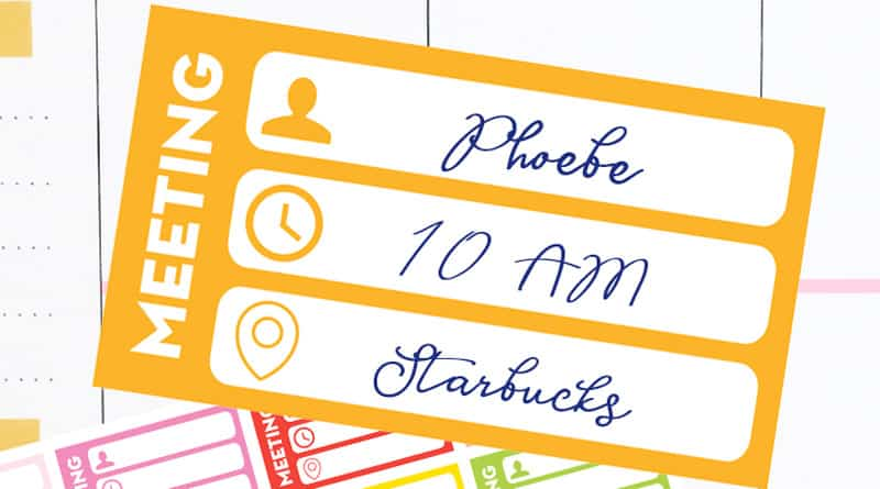 Free printable meeting planner stickers to keep track of all the important informations and organize your schedule. #freeprintable #Planner #plannerstickers #lovelyplanner