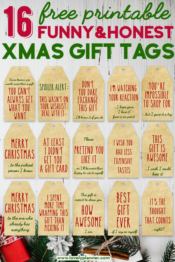 Best Honest Gift Tags for Christmas: 16 FREE Printable Funny Christmas Gift Tags in 4 different color schemes! #christmas #gift #christmasgift #gifttags #honestgifttags #funny #freeprintable #lovelyplanner