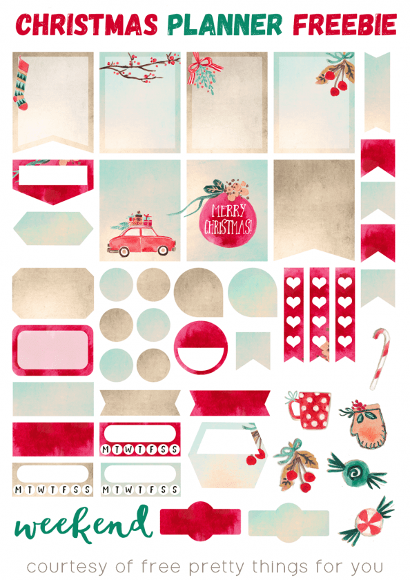 Watercolor Christmas Planner Stickers