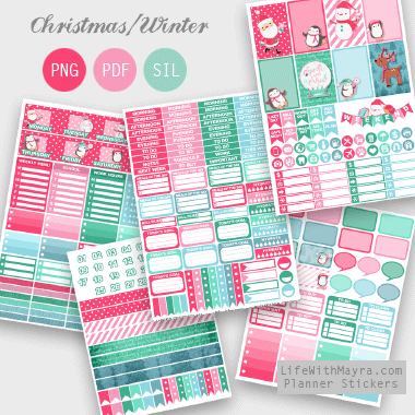 Pastel Christmas Planner Stickers – Weekly kit