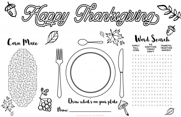 photo regarding Thanksgiving Placemats Printable named Cost-free Printable Thanksgiving Boy or girl Placemat - Match Sheet