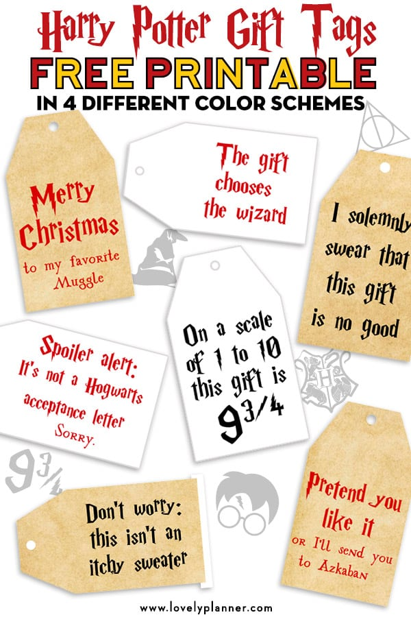 graphic relating to Gift Tag Printable Free named Free of charge Printable Harry Potter Xmas Reward Tags - Attractive Planner
