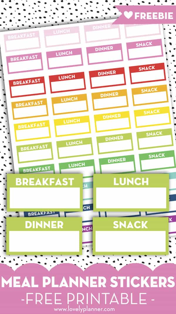 picture relating to Free Meal Planning Printable known as Cost-free Printable Supper Planner Stickers: Breakfast, Lunch