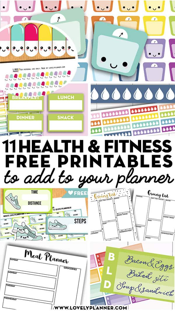 picture relating to Free Printable Food Planner Stickers titled 11 Cost-free Printable Fitness and Exercise Planner Stickers and