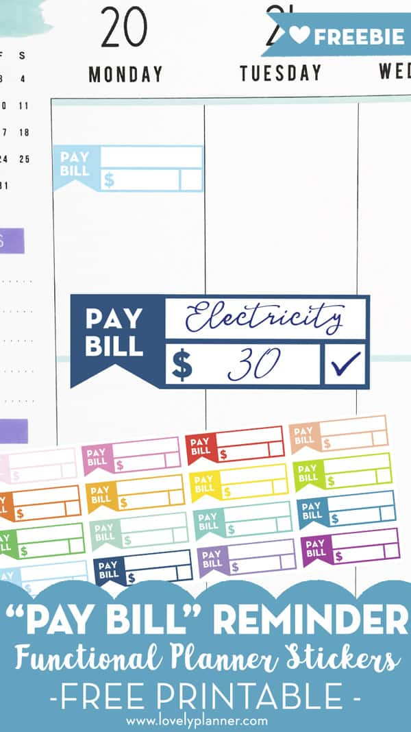 Free Printable Bill Planner Stickers
