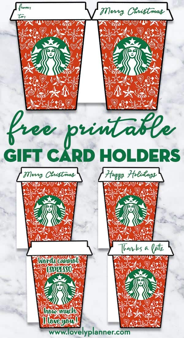 image about Thanks a Latte Christmas Printable titled 4 Absolutely free Printable Xmas Starbucks Present Card Holders