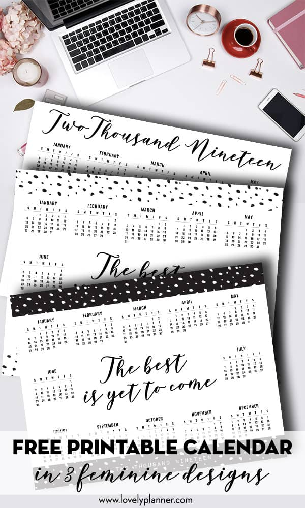 Free Printable Calendar 2019 One Page Layout 3 Templates Lovely