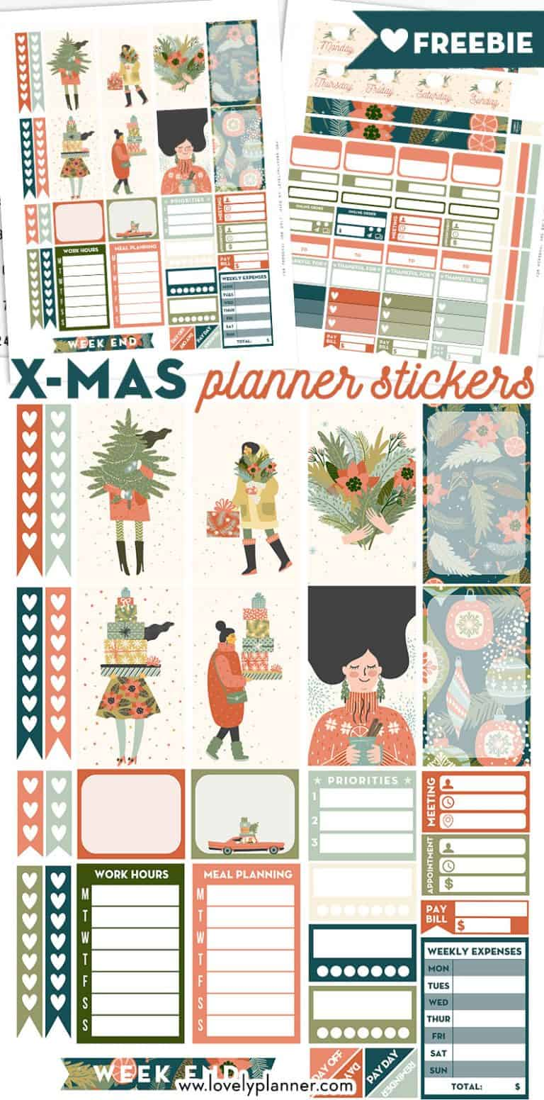 FREE Printable Christmas Planner Stickers Weekly Kit for Happy Planner