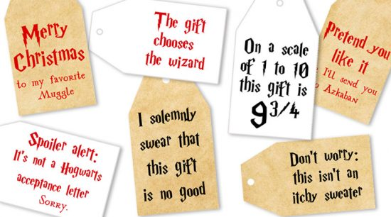 8 Free Printable Harry Potter tags to decorate your gifts for Christmas and all year. 4 different color schemes available. #freeprintable #gifttag #printable #harrypotter #gift #christmas #lovelyplanner