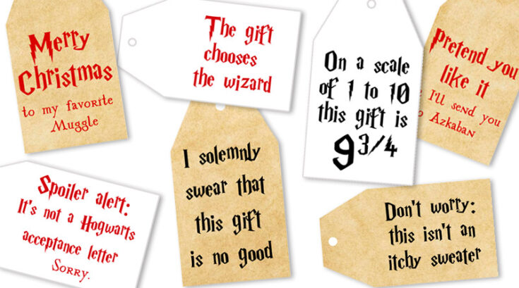 Free Printable Harry Potter Christmas Gift Tags