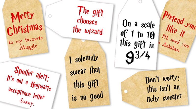graphic about Gift Tag Printable Free called Totally free Printable Harry Potter Xmas Present Tags - Beautiful Planner