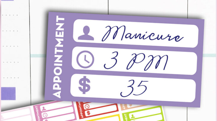 Free Printable Appointment Planner Stickers - Rainbow