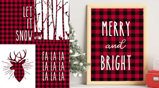13 free printable Christmas signs with a lovely Buffalo plaid pattern to add to your rustic Christmas decor. Mix & match them for a great Christmas wall art. #christmas #wallart #freeprintable #christmasdecor #decor #lovelyplanner