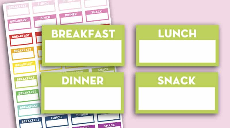 photograph relating to Free Printable Food Planner Stickers named Absolutely free Printable Evening meal Planner Stickers: Breakfast, Lunch