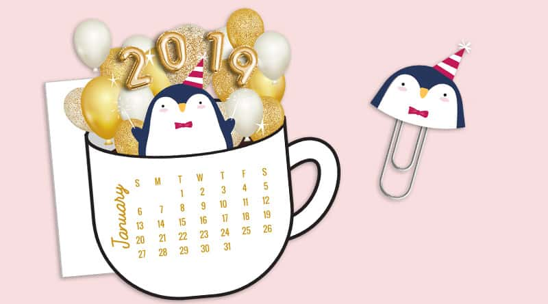 Free Printable Festive Penguin Coffee Cup calendar divider & paperclip