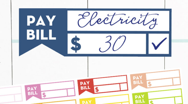 """Free Printable """"Pay Bill"""" Reminder Planner Stickers"""