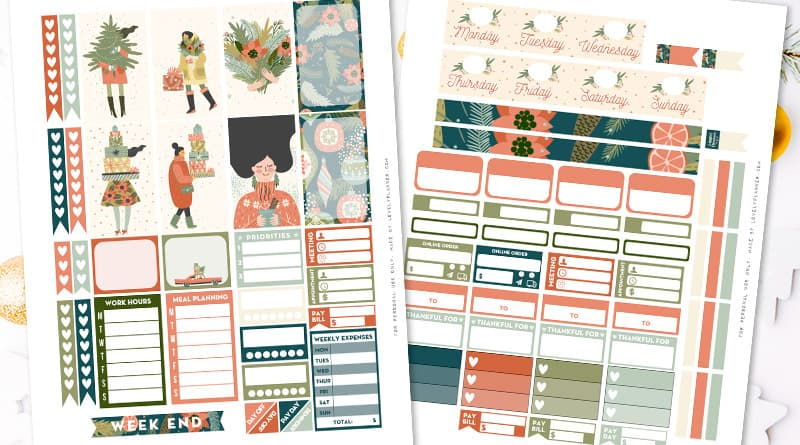 image about Free Christmas Planner Printables titled No cost Printable Snug Xmas Planner Stickers Weekly Package