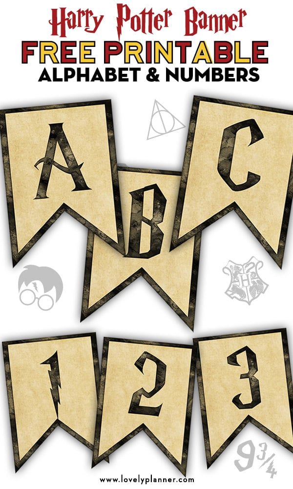 graphic relating to Printable Banners named Free of charge Printable Harry Potter Banner With Alphabet and Figures
