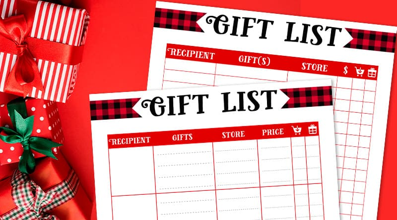 Free Printable Christmas Gift List: 2 templates