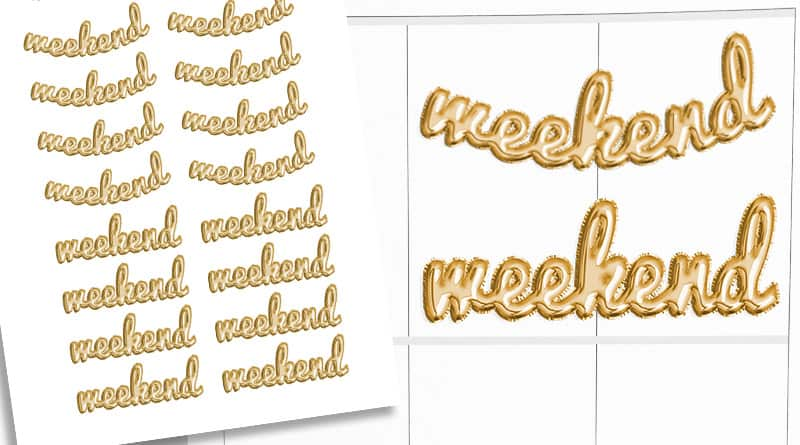 Free Printable gold foil ballon weekend planner stickers