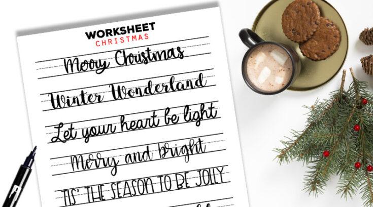 Christmas Sayings Lettering Worksheet Free Printable