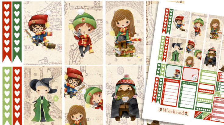 Christmas at Hogwarts Weekly Kit - Harry Potter Free Planner Stickers